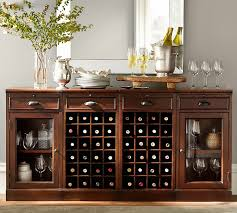 Modular Bar Buffet With 2 Wine Grid Bases Glass Door Cabinets