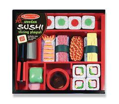 Hape Kitchen Set India by Amazon Com Melissa U0026 Doug Sushi Slicing Wooden Play Food Set