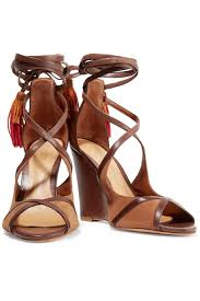 kady tasseled leather wedge sandals schutz us the outnet