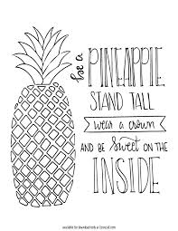 This Free Pineapple Printable Is Ready To Be Colored For Girls Big Or Small