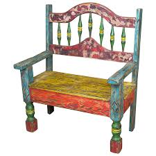 Mexican Rustic Multi Color Painted Wood Bench With Arched Back 37