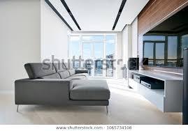 fernsehbereich im modernen high tech wohnzimmer