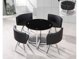 Spectrum Round Dining Table Set With 4 Black Dining Chairs
