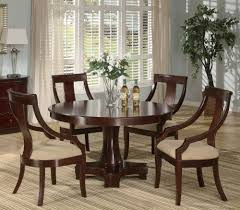 5pc Casual Dining Table Chairs Set Deep Cherry Finish