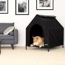 überdachte hundeliege erhöhte hundehütte hundebett mit dach schwarz verschiedene größen