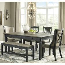 Tyler Creek 6 Piece Dining Set In Black And Weathered Oak