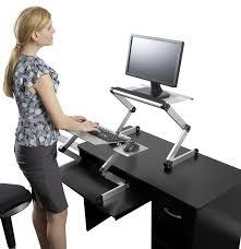 workez standing desk laptop monitor stand plus keyboard tray