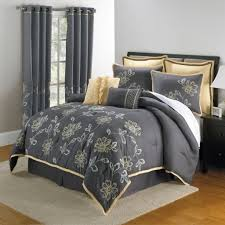 Floral Grey Comforter For Stylish Bedroom Decorating Ideas Using Golden Beige Toss Pillows
