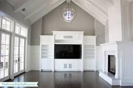 built in entertainment center transitional living room