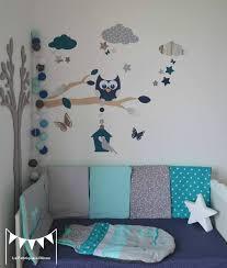décoration chambre de bébé fille gigoteuse turbulette tour de lit hibou étoiles gris turquoise