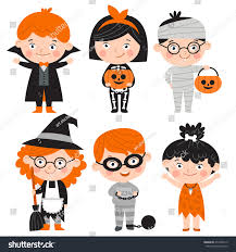 Characters For Halloween by Set Cartoon Characters Halloween Children Dressed Stock Vector