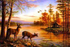 Deer And Outdoor Lake Scene Jigsaw Puzzle