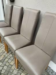 4 stück stuhl stühle esszimmer leder taupe grau