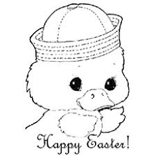 Bunny And Easter Eggs Picture Cute Chick Wishing Happy Printable Coloring Pages