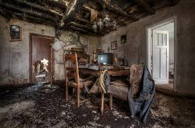 Remnants Of Family Life A Table And Chairs Discovered Inside What Was Once The Dining Room This Now Dilapidated Farmhouse In Western Photographer Niki