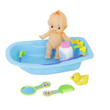 Plastic Baby Doll In Bath Tub With Shower Accessories Set Kids Role