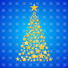 Abstract Christmas Tree Made Of Shiny Golden Stars On Blue Background Vector Image Artwork Click To Zoom