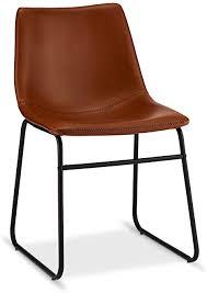 ibbe design 2er set cognac braun kunstleder esszimmerstühle vintage lounge industrial küchenstühle abel schwarz metallgestell 46x54x78 cm