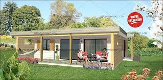 chalet en kit habitable prix maison bois moderne 2 chambres terrasse et toit plat végétal