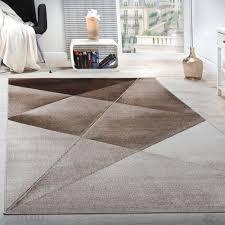 designer teppich modern geometrische muster kurzflor braun