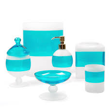Teal Color Bathroom Decor by Bathroom Decorative Blue Glass Bathroom Accessories Turquoise