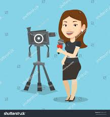 Green Screen News Reporter Background Inspirational Caucasian Microphone Standing Stock Vector