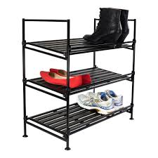 3 Tier Ebony Metal Shoe Rack