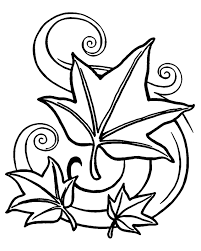 Autumn Coloring Pages Leaves Falling