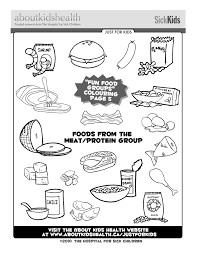 Protein Food Group Coloring Pages Kids