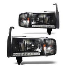 01 dodge ram 1500 black housing led headlights