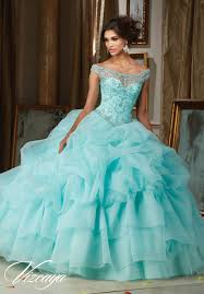 quinceanera dresses by vizcaya jeweled beading on a billowy