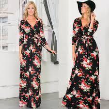 haute gypsy boho black red floral long sleeve maxi wrap dress v