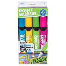RoseArt Washable Sidewalk Chalk Paint Neon Jumbo Markers, 4 Count ...
