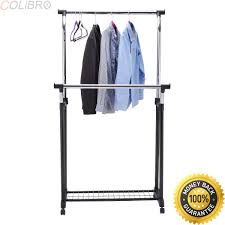 Amazoncom COLIBROXDouble Rail Adjustable Garment Rack Rolling
