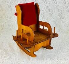 Vintage Handmade Wooden Rocking Chair Sewing Caddy Pincushion With ...