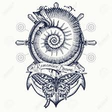 100 Sea Shell Design Anchor Steering Wheel Butterfly Tattoo Art Vintage