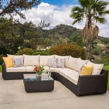 Outdoor Sectional Sofa Set by Carmel Outdoor 7 Piece Outdoor Sectional Sofa Set With Cushions By