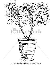 plante fleur croquis salle pot vecteur search clip