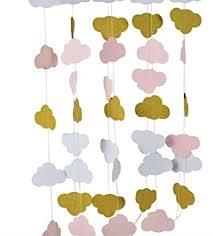 diwuli wolken girlande zum aufhängen wimpel kette himmel banner gold rosa grau geburtstagsfeier garten motto mädchen jungen