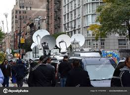 Satellite Dishes On News Trucks On Greenwich Street At Chambers ... Pmtv Sallite Uplink Trucks For Broadcast Live Streaming Trucks At The Coverage Of Timothy Mcveighs Exec Flickr Side Loader New Way The Best To Transmit Data In Really Wired 3d Rendering On Road With Path Traced By Stock Espn Gameday Truck Was Parked Nearby 2012 Us Presidential Primary Covering Coverage Tv News Broadcast Live With Antenna And Sallite Tv Truck Parabolic Frm N24 Channel Media Descend On Jpl Nasas Mars Exploration Program Rear View Of White Television Multiple