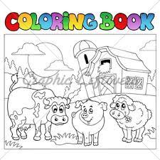 Coloring Book With Farm Animals 3 Vector Illu
