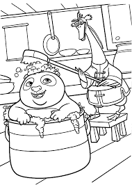 Kung Fu Panda Bathing Coloring Pages For Kids Printable Free