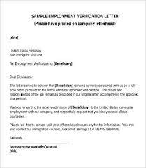 Sample Employment Verification Letter Employment Verification