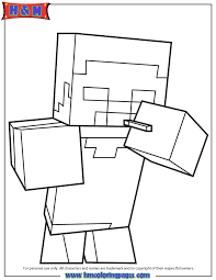 Minecraft Herobrine With Smoking Activity Coloring Pages
