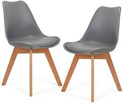 mingone 2er set schwarz polsterstühle eßzimmer kein recycelter kunststoff stühle massivholzbeine grau