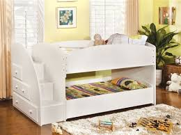 Vista White Twin Low Bunk Bed with Steps