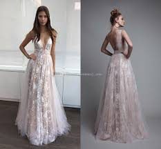 newest lace evening dresses v neck tulle ivory backless