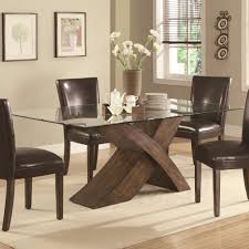 Nice Expandle Glass Dining Table And Brown