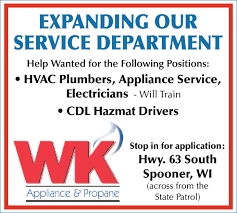 Employment Opportunities, WK Appliance And Propane, Spooner, WI