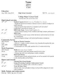College Resume Format For High School Students Sample Singular